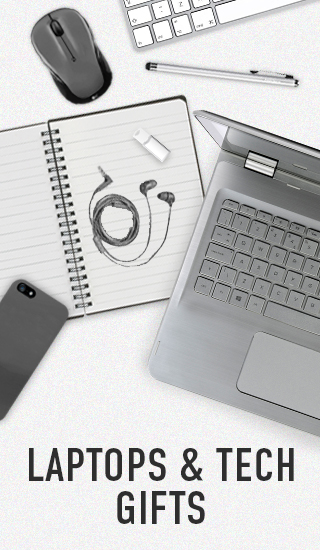 Picture of laptop and tech gifts. Click to shop Laptops and Tech Gifts.